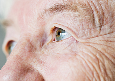 Closeup of an elderly fellow's eyes.