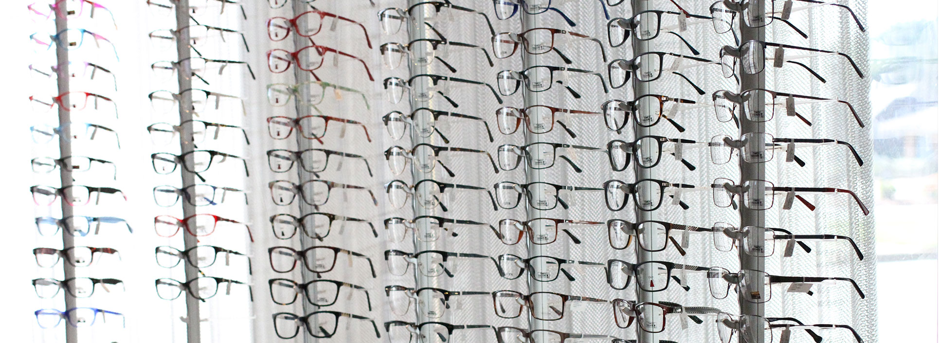 Glasses in the Roswell Eye Clinic optical shop.